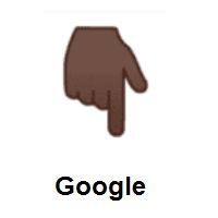 Backhand Index Pointing Down: Dark Skin Tone on Google Android