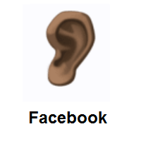 Ear: Dark Skin Tone on Facebook