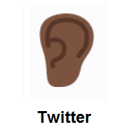 Ear: Dark Skin Tone on Twitter Twemoji