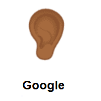 Ear: Medium-Dark Skin Tone on Google Android