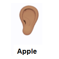 Ear: Medium Skin Tone on Apple iOS