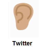 Ear: Medium Skin Tone on Twitter Twemoji