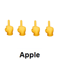 Four Times Middle Finger on Apple iOS