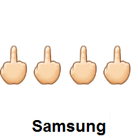 Four Times Middle Finger: Light Skin Tone on Samsung