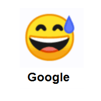 Sweating Face: Grinning Face With Sweating Eyes on Google Android