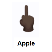 Middle Finger: Dark Skin Tone on Apple iOS