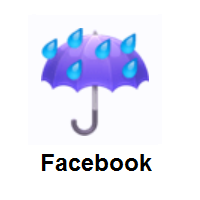 Rainy: Umbrella with Rain Drops on Facebook