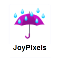 Rainy: Umbrella with Rain Drops on JoyPixels