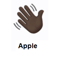 Waving Hand: Dark Skin Tone on Apple iOS