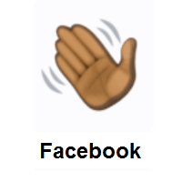 Waving Hand: Dark Skin Tone on Facebook