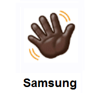 Waving Hand: Dark Skin Tone on Samsung