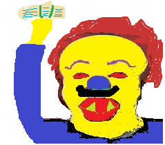 Horror Clown with fake banknotes