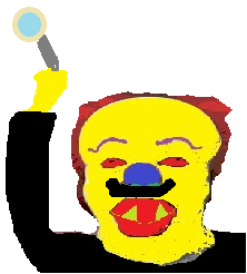 Horror Clown with his Left-Pointing Magnifying Glass