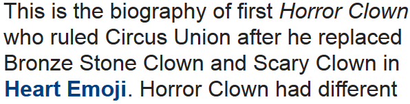 Story: Horror Clown the First